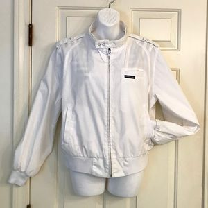 VINTAGE MEMBERS ONLY White Bomber Jacket Sz L